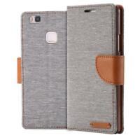 Custodia a Portafoglio Protettiva Cover wallet Case per  Huawei P9 Lite Grigio