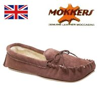 MOKKERS Boys Real Suede Warm Thermal Moccasin Slippers  Taupe Brown Size 2 3 4 5