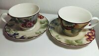 Napa Valley by Noble Excellence China Cups Saucers 2-2pc. Sets grapes coffee/tea