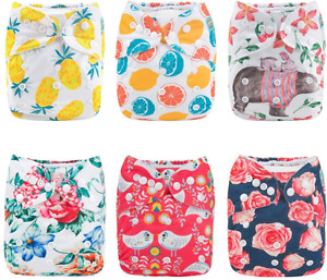 Baby Cloth Diapers One Size 6 Pack w/ 12 Inserts Adjustable Reusable for Babies