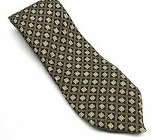 GEOFFREY BEENE Gold, Brown, Black NECK  TIE Checks Squares  100% Silk  Necktie