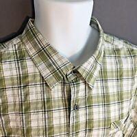 Kani Gold Mens 3X Plaid Green Short Sleeves Casual Shirt Cotton Linen
