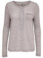 33/12 NEU ONLY Damen Langarm Shirt TOP onlBRITTA L/S PLACKET TOP ESS  Gr. M grau