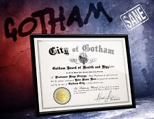 GOTHAM Arkham Asylum Certificate of SANITY w/ YOUR name Signed - comic fan gift