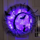 NEW 40CM Happy Halloween Wreath With LED Light Up Black Bat Cat Wreath Pendant