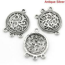 Pack of 10 x Round Carved Connectors - Antique Silver Tone - Silvar Design