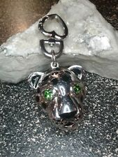 JUICY COUTURE Large Silver Tone Leopard Cat Green Eyes Keychain Purse Charm FOB