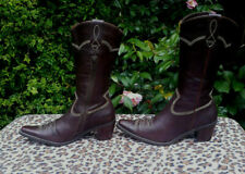 Ecco Brown Leather Cowboy Boots UK 5 EU 38
