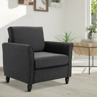 Single Armchair Cushion Padded Sofa Chair Wooden Seat Living Room Furniture