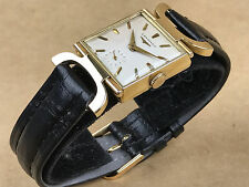 LONGINES VINTAGE 14K GOLD FANCY LUGS SQUARE 1950s Wrist WATCH !!!