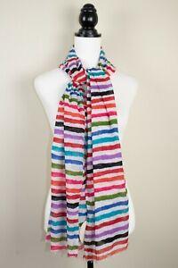 "Kushi Multicoloured Striped 100% Cotton Women's Long Scarf BNWT 70"" x 24"""