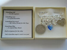 BRIDE BRIDAL SOMETHING OLD NEW BORROWED BLUE LUCKY SIXPENCE GUARDIAN ANGEL GIFT