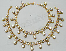 Designer Beautiful Gold Tone /Plated Anklet / Payal With Kundan & Stone