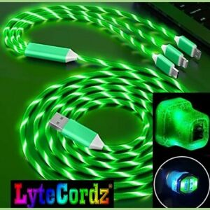 LED Light Up 3 in 1 Multi Charging Charger Cable Cord - Iphone Android Type C