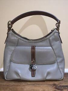 Dooney & Bourke Grey Leather Samba Hobo Shoulder Bag w Pocket Brown Trim
