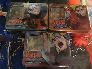 Naruto CCG Fierce Ambitions Set of 3 tins - 12 Booster Packs Total - Super Rare