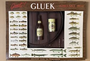 SUPER RATE GLUEK BEER self framed ADVERTISING cardboard SIGN 3D FISH SIGN