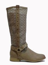 scarpe stivali boots donna taupe borchie pizzo biker camperos stivaletti