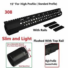 "Super Slim Extra Long 15"" Inch High Profile Free Float Handguard Rail .308 308"