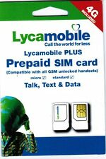 Lot of 5 LYCAMOBILE TRIPLECUT SIM CARDS WITH $29 PLAN 1st MONTH INCLUDED
