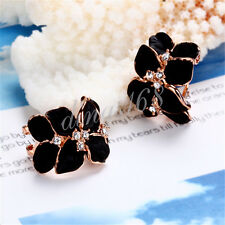 18K Rose Gold Filled Large Black Flower White Crystal Post Earrings Jewelry H077