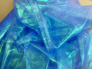 Rainbow Organza Fabric - Royal Blue - Organza Craft Fabric Material Metre
