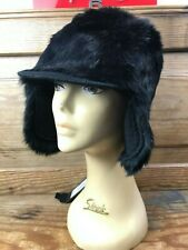 EMPORIO ARMANI BLACK AVIATOR BASEBALL REAL FUR HAT WITH EAR FLAPS BNWT M