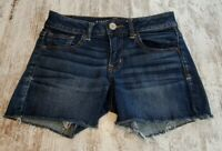 Womens American Eagle Outfitters Blue Denim Shorts Size 2 Super Stretch Frayed