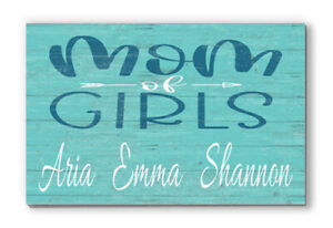 Customized Name Sign Mom of Girls Rustic Wooden Home Décor for Mothers Day Gift