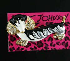 Cute Enamel Rhinestone Dachshund black  Dog Animal Brooch Pin Betsey Johnson