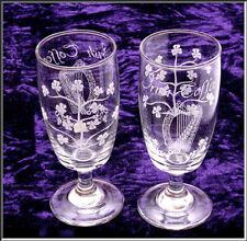 Pair of Eamon Hand Cut Irish Coffee Stemmed Glasses w/ Etched Harp & Shamrocks