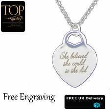 Heart Love Pendant Personalised Engraved Name Necklace White Gold Plated Gift UK