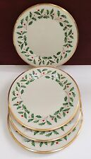 New LENOX CHINA (4) HOLIDAY DINNER PLATES Ivory & Gold NWT Holly Berries