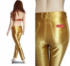 Vintage 70s RARE Gold Spandex CHEMIN de FER Pants Metallic High Waist Size XS