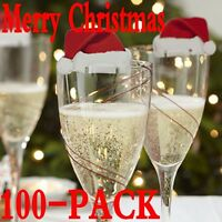 100pcs Xmas Hats Champagne Wine Glass Caps Christmas Holiday Party Decorations