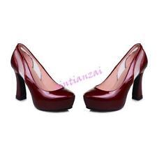Womens Party Shoes Shiny Faux Leather High Block Heel Pumps Platform Plus Size