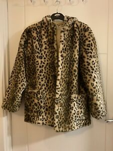 Girls Palomino C&A Faux Fur Leopard Print Hooded Coat Size 14-16 Years