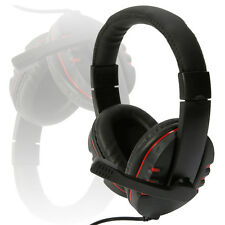 New Luxury Leather Headset earphone with Microphone for PS3 PS4 PC Black and Red