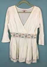 Joe Browns White Floral Embroidered Scallop Lace Wrap Look Dobby Blouse 16 B22