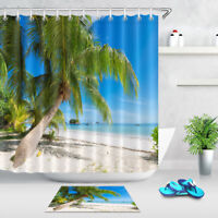 "72"" Tropical Palm Beach Fabric Shower Curtain Liner Waterproof Hooks Bath Mat"