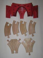 Wood Train Railway Red Brick Plastic Viaduct w/4 Short Curve & 2 Y Switch Tracks