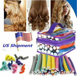 42x Magic Hair Curlers Twist Flex Bendy Roller Foam Perm Rod Curls Styling Tool
