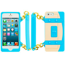 Baby Blue Silicone Handbag Holder Pouch Soft Case Cover for iPhone 5 5S 5G