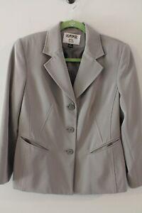 KASPER ASL PETITE light gray 3 button long sleeve blazer jacket size 6P