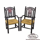 Custom Pair of Hand Painted Mexican Sun Gods Carved Rush Seat Arm Chairs
