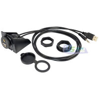 USB 2.0 Car Dashboat Flush Mount 3.5mm Male to Female Audio Extension Cable Lead