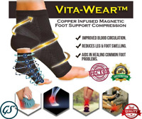 Vita-Wear Copper Infused Magnetic Foot Support Compression High Quality W8H7
