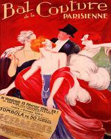 POSTER BAL DE LA COUTURE PARISIENNE FRENCH FASHION VINTAGE REPRO FREE S/H