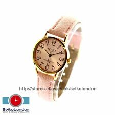 Azaza Ladies Watch, Pink Dial & Strap, Gold Finish