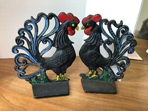 Pair Vintage Cast Iron Painted Rooster Bookends